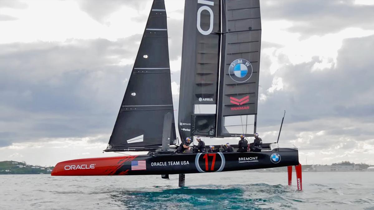 America's Cup catamaran with daggerboards