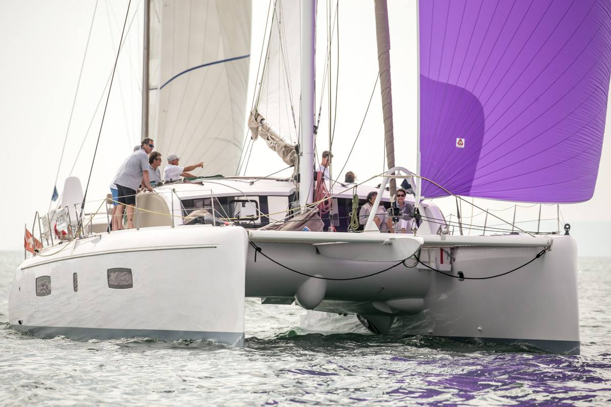 Outremer Cup 2018 catamaran under sail with people