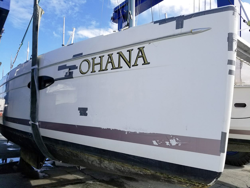 Helia 44 catamaran repair