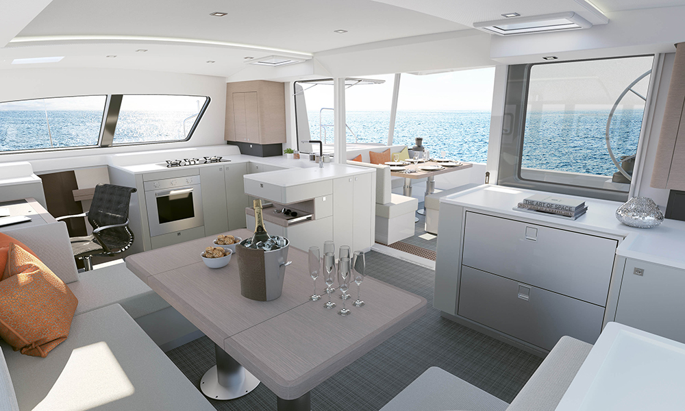 Outremer 5X Main Saloon to cockpit