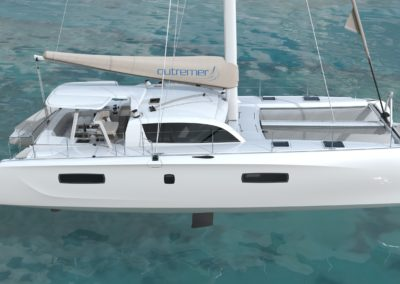 Outremer 51 catamaran starboard profile