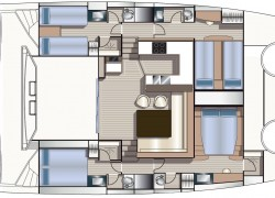 Privilege Serie 5 Catamaran 4-cabin Layout