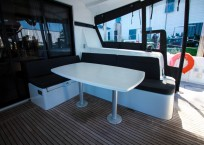 Lagoon 42 Catamaran TANGLED SHEETS aft seating