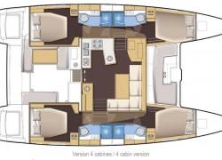 2018 Lagoon 450S Catamaran 4-cabin layout