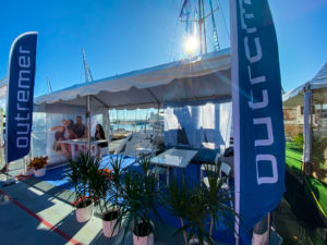 Outremer 45 Catamaran at Annapolis Sailboat Show display