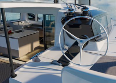 Outermer 55 Performance Catamaran helm