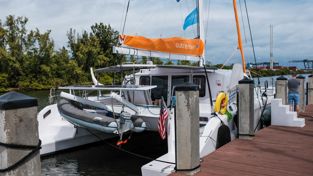 Outremer 45 Catamaran at boat show