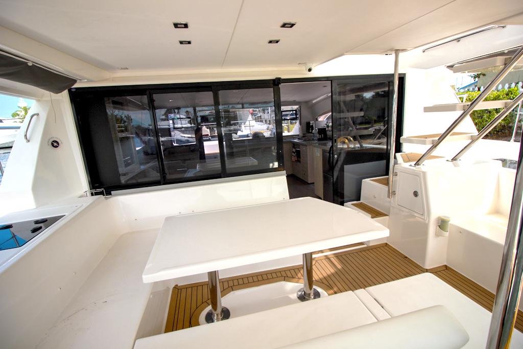 Leopard 43 Power Catamaran aft deck