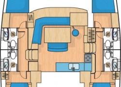 Lagoon 440 Catamaran layout 4-cabin