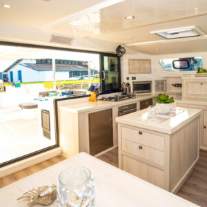 2020 Royal Cape 57 Fly Catamaran-galley to aft