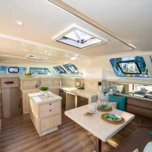 2020 Royal Cape 57 Fly Catamaran-salon and galley