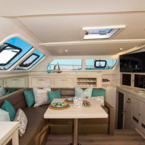 2020 Royal Cape 57 Fly Catamaran-salon to starboard
