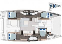 2022 Leopard 50 Catamaran MEANDERING MAE 4-cabin layout
